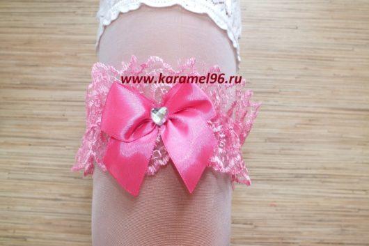 Подвязка невесты бирюзовая с бирюзовым бантиком