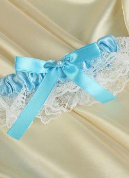Подвязка невесты белая с голубым декором