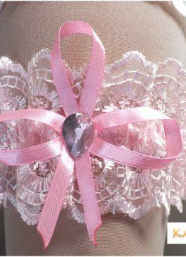 Подвязка невесты розовая с розовым бантиком