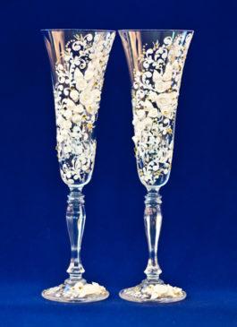 Купить свадебные бокалы для молодоженов. Бокалы на свадьбу ручной работы купить в Екатеринбурге