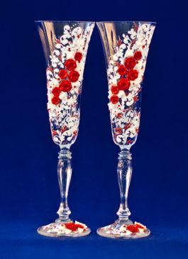 Свадебные бокалы с цветами купить. Бокалы на свадьбу ручной работы купить в Екатеринбурге