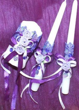 """Набор свечей """"Семейный очаг"""" в сиренево-фиолетовом цвете"""