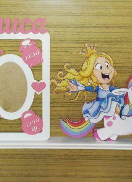 "Фоторамка с именем и метриками ""Принцесса на единорожке"""