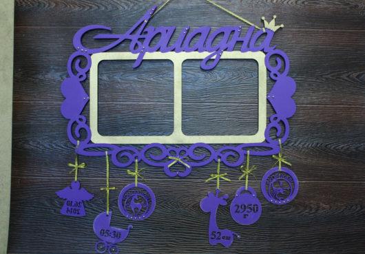 Имя с метриками и знаками Зодиака и 2 фоторамками