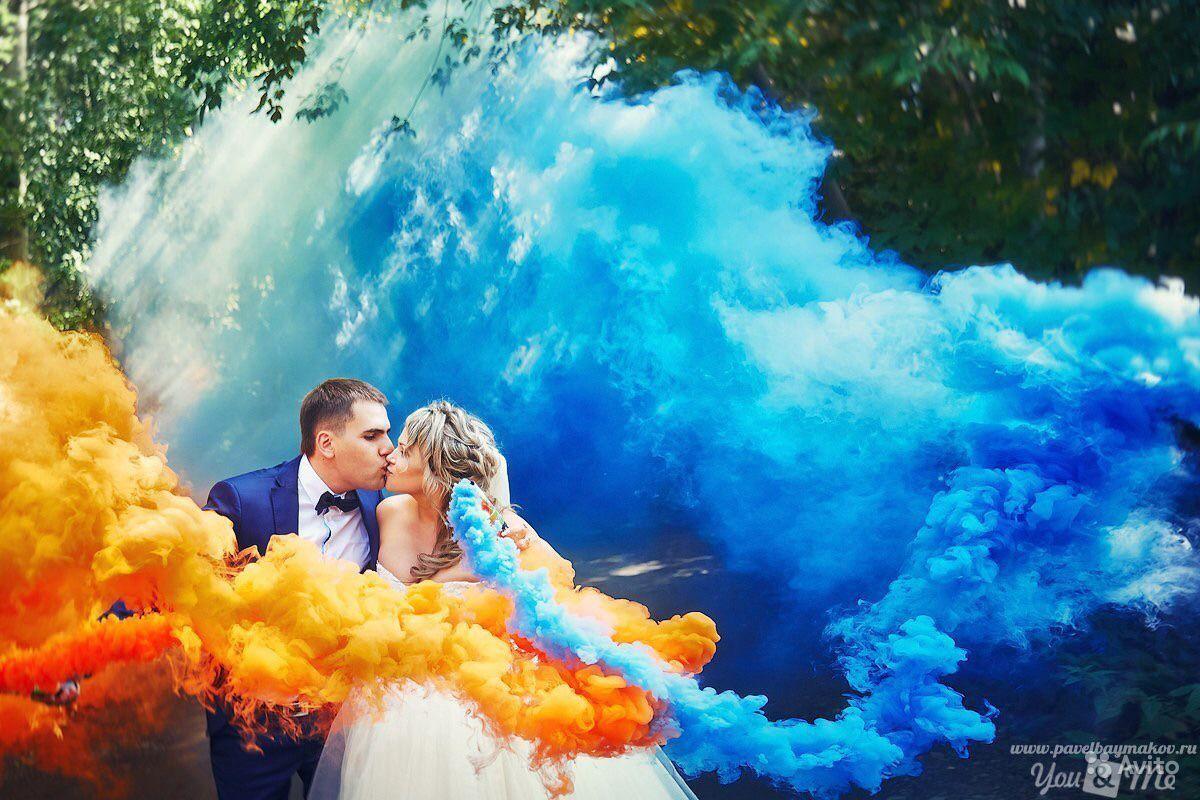 НАБОР Цветной дым 5шт: синий, желтый, красный, зеленый, белый. Дымовая шашка 30 сек