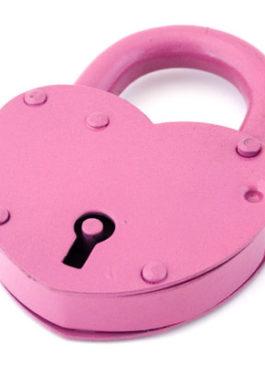 """Замок """"Сердце"""" с ключом розовый"""