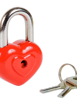 """Замочек """"Сердечко"""" красный с ключами"""
