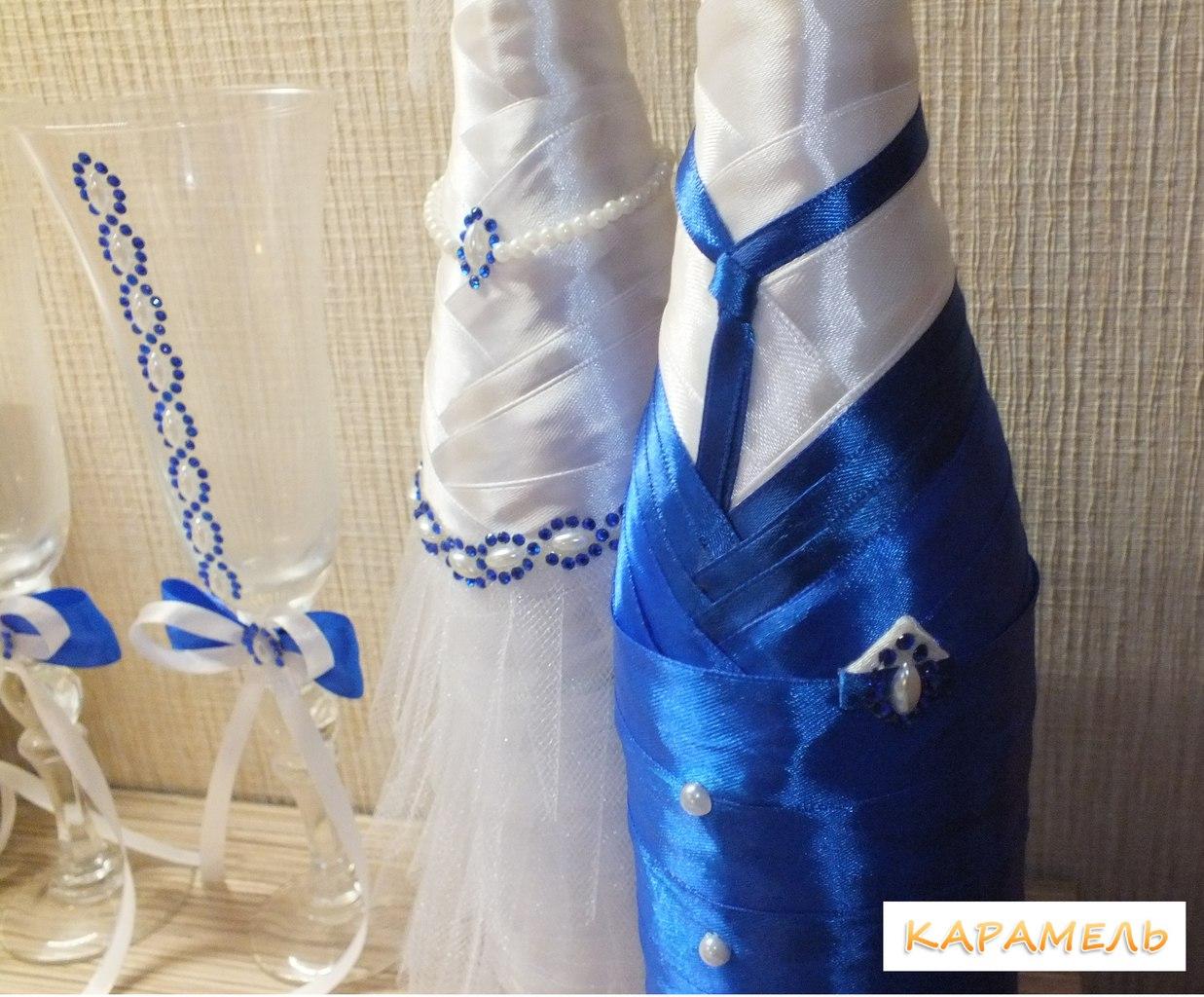 """Оформление бутылок шампанского """"Жених"""" и """"Невеста"""""""
