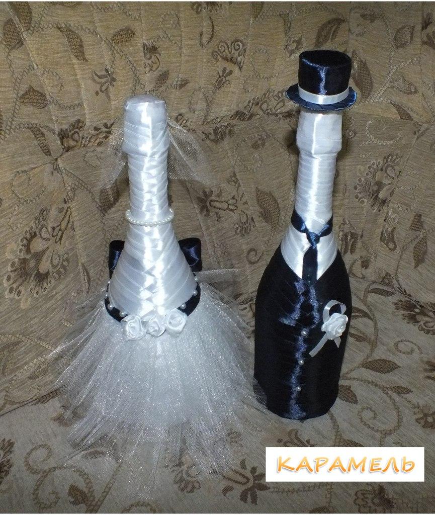 """Оформление бутылок шампанского """"Жених в шляпе"""" и """"Невеста"""""""