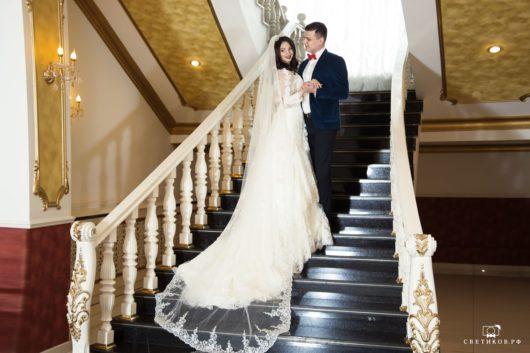 """Платье свадебное """"А-силуэт"""" молочного цвет 44,46 размер + ФАТА в ПОДАРОК"""