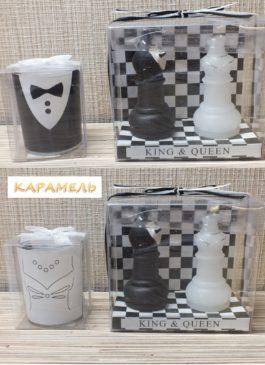 """Набор свечей """"Семейный очаг"""" чёрно-белый"""