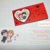 """Приглашение на свадьбу """"Love is"""" на красном фоне"""