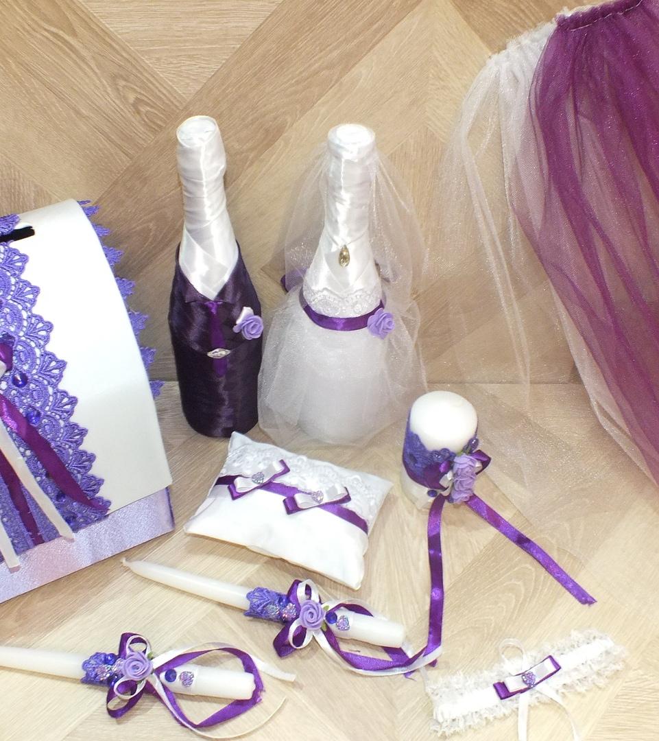 Подушечка для колец с фиолетовыми бантиками