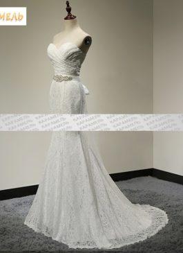 """Платье свадебное белое кружевное силуэта """"Рыбка"""""""