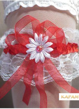 Подвязка невесты белая с красной ленточкой