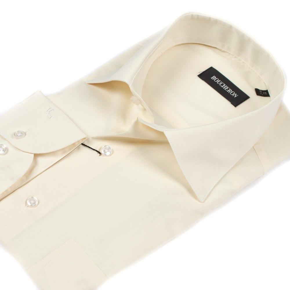Мужская рубашка приталенная айвори (крем)