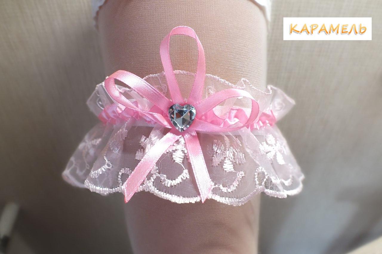 Подвязка невесты розовая с розовой ленточкой