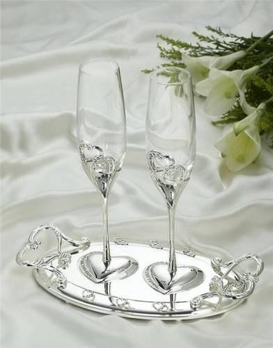 Бокалы Люкс на подносе.Свадебные бокалы. Серебро