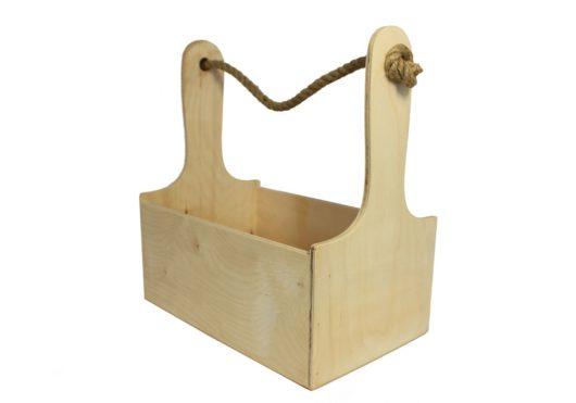 Ящик из фанеры с ручкой из джута 26*14*26 см