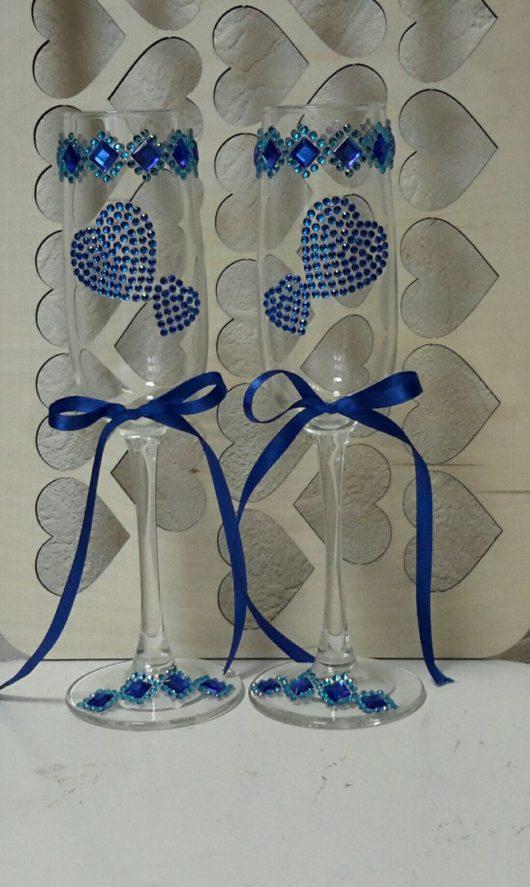 Бокалы молодоженов с синим декором