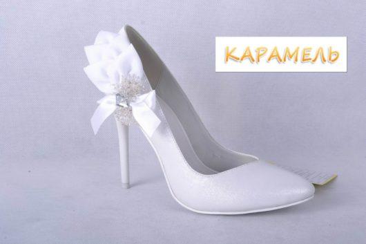 Туфли свадебные на каблуке белые 35,36,37