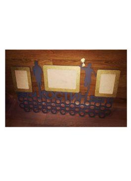 ИМЕННАЯ Медальница увеличенная 74*45 см с 3 фоторамками 10*15 и 15*21 см Лёгкая Атлетика Бегун ПОД ЗАКАЗ