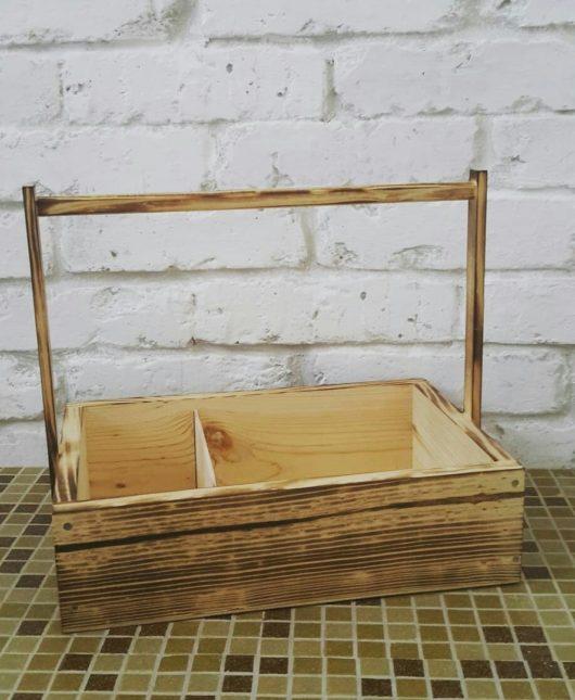 Ящик из массива ОБЖИГ с ручкой  с 1 перегородкой