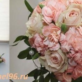 Букет невесты из роз и персиковых гвоздик