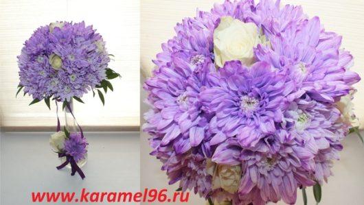 Букет невесты из сиреневых хризантем и  белых роз