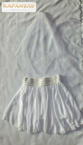 Набор для девичника Юбка и фата в АРЕНДУ (белый, синий, голубой, мятный на выбор)