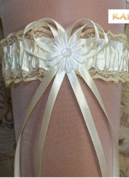 Подвязка невесты айвори с ленточкой айвори