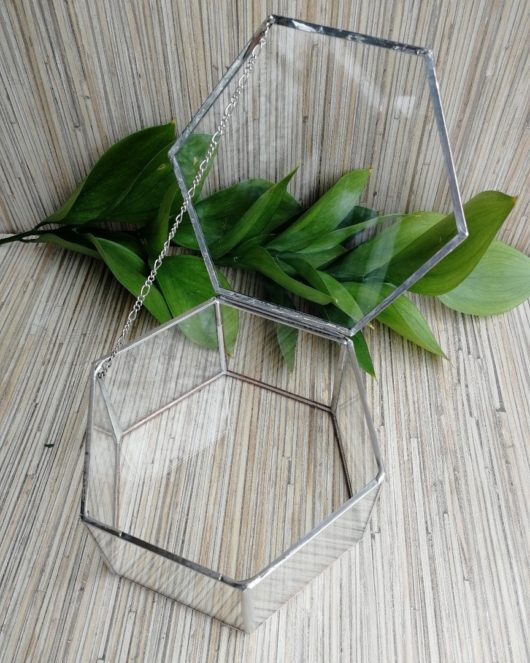 "Шкатулка ""Geometria"" из стекла и металла для колец цвет ""под серебро"" ПОД ЗАКАЗ"