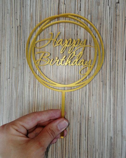 """Топпер """"Happy Birthday"""" из оргстекла"""