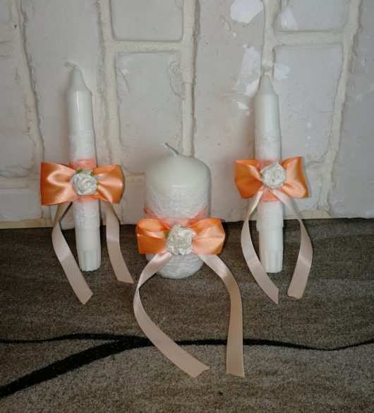 Свечи Семейный очаг для  свадьбы в персиковом цвете