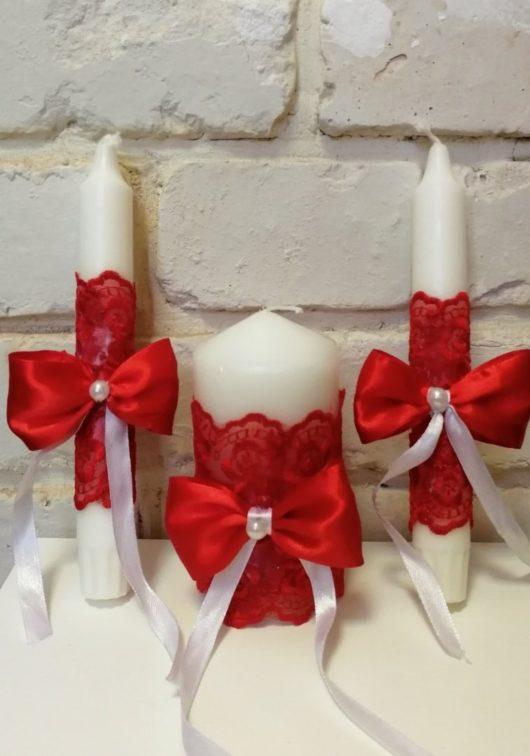 """Набор свечей """"Семейный очаг"""" в персиковом цвете со стеклянными подсвечниками"""