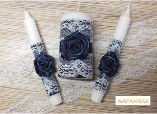 """Набор свечей """"Семейный очаг"""" в тёмно-синем цвете"""
