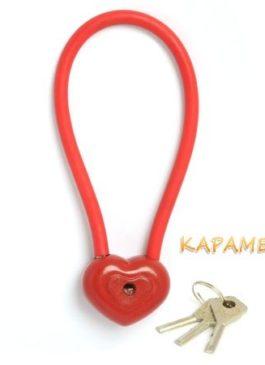 """Замочек красный """"Сердце"""" с тросом и ключами Свадебный замок  в наличии"""
