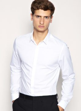Мужская рубашка приталенная белая