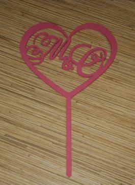 Топпер свадебный с вашей монограммой из мдф с покраской в розовый цвет