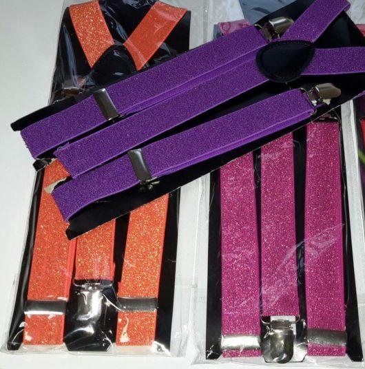 Подтяжки для брюк сиреневые с люрексом (блестящая нить)