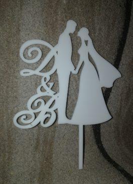 Топпер свадебный Пара с вашей монограммой из белого оргстекла