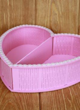 """Ящик  """"Сердце"""" розовый с  разделителем 25*24*6,5"""