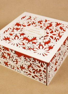 """Подарочная коробка из мдф со снежинками """"Счастья в Новом году!"""" 25*25*12 см"""