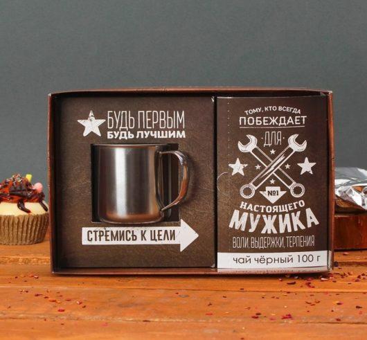 """Набор чай чёрный 100 г и алюминиевая кружка """"Для настоящего мужика"""""""