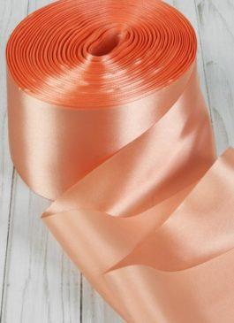 Лента атласная 10 см шириной персикового цвета