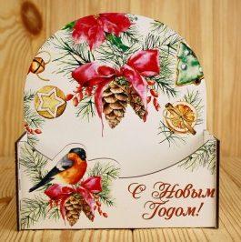 """Подарочная упаковка-конверт """"С Новым годом!"""" со снегирём"""