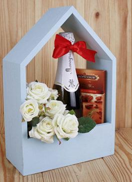 Подарочный ящик-домик (20,5*10*30,5) Дерево, окрашен. ПОД ЗАКАЗ.