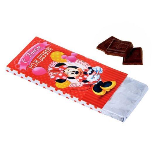 """Обертка для шоколадки """"С Днем рождения"""" Минни Маус, 18,2 х 15,5 см  ( набор 10 шт)"""
