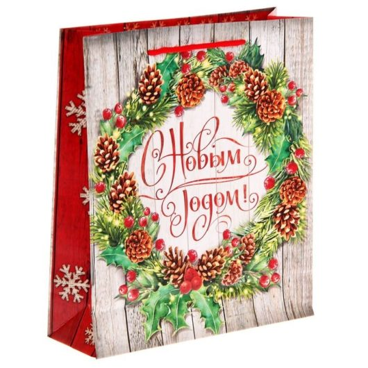 Пакет ламинированный вертикальный «Рождественский венок», 23 × 27 × 8 см