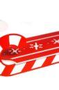 """Подарочная упаковка """"Салазки""""большие (47*20*17) Фанера 3мм, окрашен., оформл., Белый-красный, 1 шт."""